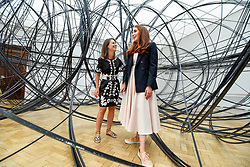 "© Licensed to London News Pictures. 17/09/2019. LONDON, UK. Visitors experience ""Clearing VII"", 2019, by Antony Gormley, 8km of aluminium tubing. Preview of a new exhibition by Antony Gormley at the Royal Academy of Arts.  The show bring together existing and specially conceived new works from drawing to sculptures to experimental environments to be displayed in all 13 rooms of the RA's Main Galleries 21 September to 3 December 2019.  Photo credit: Stephen Chung/LNP"