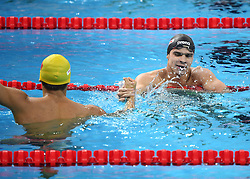 HANGZHOU, Dec. 16, 2018  Evgeny Rylov (R) of Russia celebrates after winning Men's 200m Butterfly Final at 14th FINA World Swimming Championships (25m) in Hangzhou, east China's Zhejiang Province, on Dec. 16, 2018. Evgeny Rylov claimed the title with 1:47.02. (Credit Image: © Xinhua via ZUMA Wire)