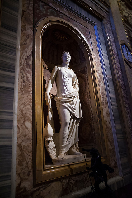 A white marble statue in the Borghese Gallery, Rome, Italy.