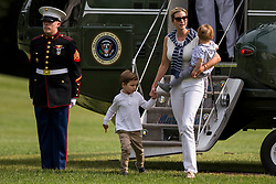 Special Advisor to The President Ivanka Trump exits Marine One with her sons Theodore, 1, and Joseph, 3, after a weekend trip to Camp David. Credit: Alex Edelman / Pool via CNP
