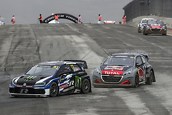April 29, 2018 - Montalegre, Vila Real, Portugal - Petter SOLBERG (NOR) in Volkswagen Polo R of PSRX Volkswagen Sweden (L) and Timmy HANSEN (SWE) in Peugeot 208 of Team Peugeot  Total (R) in action during the World RX of Portugal 2018, at Montalegre International Circuit, on April 29, 2018 in Montalegre, Portugal. (Credit Image: © Dpi/NurPhoto via ZUMA Press)