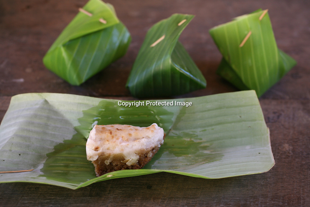 food wrapped in banana leaves in Thailand.