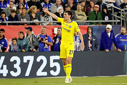 May 15, 2019 - Foxborough, MA, U.S. - FOXBOROUGH, MA - MAY 15: Chelsea FC defender Andreas Christensen (27) protests a call during the Final Whistle on Hate match between the New England Revolution and Chelsea Football Club on May 15, 2019, at Gillette Stadium in Foxborough, Massachusetts. (Photo by Fred Kfoury III/Icon Sportswire) (Credit Image: © Fred Kfoury Iii/Icon SMI via ZUMA Press)