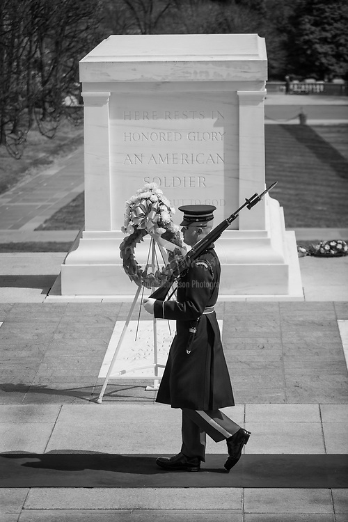 """The Tomb of the Unknowns (also known as the Tomb of the Unknown Soldier, although it has never been officially named) is a monument dedicated to American service members who have died without their remains being identified. It is located in Arlington National Cemetery in the United States. The World War I """"Unknown"""" is a recipient of the Medal of Honor, the Victoria Cross, and several other foreign nations' highest service awards. The U.S. Unknowns who were interred afterwards are also recipients of the Medal of Honor, presented by the U.S. presidents who presided over their funerals."""
