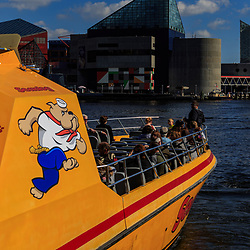 Baltimore, MD / US - October 15, 2016: The Sea Dog at the dock in the city's Inner Harbor, ready to take passengers on a tour of the waterway.