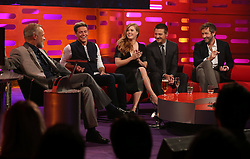 (left to right) Graham Norton, Niall Horan, Amy Adams, Jeremy Renner and Chris O'Dowd during the filming of The Graham Norton Show at the London Studios in London, to be aired on BBC1 on Friday evening.