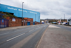 Hillsborough Sheffield  29th March 2020 Hillsborough Football ground  Closed and Penistone Road North deserted after the emergency measures  were announced by Prime minister Boris Johnson on Monday evening (23rd march) <br /> <br /> 29 March 2020<br /> <br /> www.pauldaviddrabble.co.uk<br /> All Images Copyright Paul David Drabble - <br /> All rights Reserved - <br /> Moral Rights Asserted -