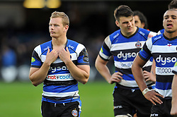 Chris Cook of Bath Rugby looks dejected after the match - Photo mandatory by-line: Patrick Khachfe/JMP - Mobile: 07966 386802 25/10/2014 - SPORT - RUGBY UNION - Bath - The Recreation Ground - Bath Rugby v Toulouse - European Rugby Champions Cup