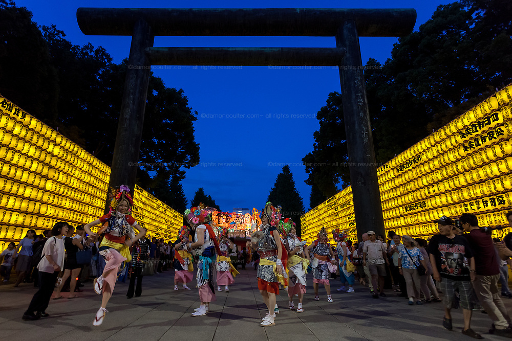Nebuta dancers take part in the Mitama matsuri, a festival of remembrance, at the controversial Yasukuni Shrine in Kudanshita, Tokyo, Japan. Friday July 14th 2017