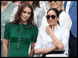 July 13, 2019 - London, London, United Kingdom - Image licensed to i-Images Picture Agency. 13/07/2019. London, United Kingdom. Kate Middleton, the Duchess of Cambridge and  Meghan Markle, the Duchess of Sussex after Serena Williams lost in the Ladies Final on day twelve of the Wimbledon Tennis Championships in London. (Credit Image: © Stephen Lock/i-Images via ZUMA Press)