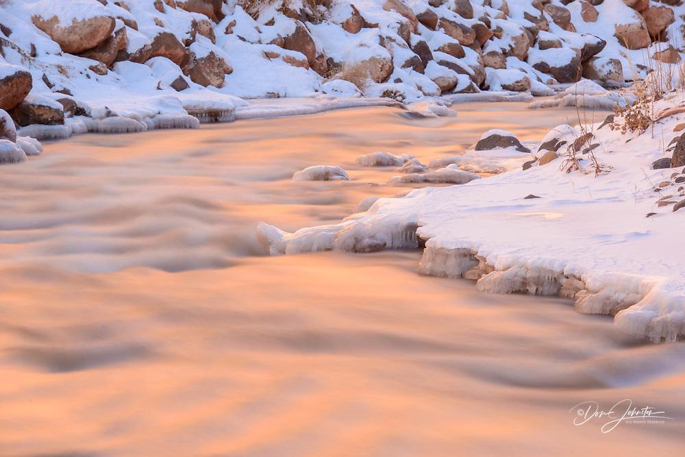 Fremont River shoreline in winter, Capitol Reef National Park, Utah, USA