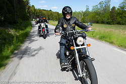 Lucke Pettersson xriding his Harley-Davidson Twin-Cam on a Twin Club ride out from the club house in Norrtälje after their annual Custom Bike Show. Sweden. Sunday, June 2, 2019. Photography ©2019 Michael Lichter.