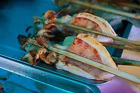 kempot, grilled squid and fish, street food, crab market