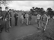 Ireland Soccer Team Training.1983.14.11.1983.11.14.1983.14th November 1983..The Ireland Soccer team trained, for the forthcoming match against Malta, at Stewarts Hospital,Palmerstown Dublin..Image, Its a hard slog up the hill for players as they complete  training for the day.