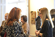"""Roslyn, New York, USA. January 31, 2015. Artists Reception for """"The Alchemists"""" Karine Falleni, Thea Lanzisero, Barbara Miller, Constance Wain, and Ellen Hallie Schiff, at Bryant Library. Curated by Schiff."""