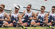 "Rio de Janeiro. BRAZIL.   GBR M8+. right to left, Matt GOTREL,  Pete REED, Paul BENNETT, Matt LANGRIDGE, William SATCH and Cox, Phelen HILL, moving away from the start at the 2016 Olympic Rowing Regatta. Lagoa Stadium,<br /> Copacabana,  ""Olympic Summer Games""<br /> Rodrigo de Freitas Lagoon, Lagoa.   Monday  08/08/2016 <br /> <br /> [Mandatory Credit; Peter SPURRIER/Intersport Images]"