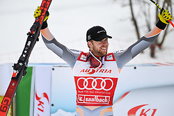 14.02.2020, Zwölferkogel, Saalbach Hinterglemm, AUT, FIS Weltcup Ski Alpin, Super G, Herren, Siegerehrung, im Bild Aleksander Aamodt Kilde (NOR) Sieger // Aleksander Aamodt Kilde of Norway winner during the winner ceremony for the men's SuperG of FIS Ski Alpine World Cup at the Zwölferkogel in Saalbach Hinterglemm, Austria on 2020/02/14. EXPA Pictures © 2020, PhotoCredit: EXPA/ Erich Spiess