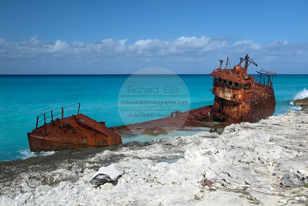 Ship wreck along the Caribbean coast of Alice Town on the tiny Caribbean island of Bimini, Bahamas.
