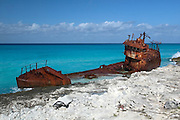 Ship wreck along the Caribbean coast of Alice Town on the tiny Caribbean island of Bimini, Bahamas.