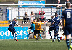 Annan Athletic's Peter Watson (5) scoring their first goal. half time : Forfar Athletic 1 v 3 Annan Athletic, Scottish Football League Division Two game played 6/5/2017 at Station Park.