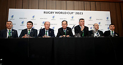 Shane Ross, Minister for Transport Tourism and Sport (third left), David Sterling, interim Head of the Northern Ireland Civil Service (left), Dick Spring, Chairman, Ireland 2023 Oversight Board (centre), Brian O'Driscoll (right), Philip Browne, IRFU Chief Executive (third right) with bid team members during the 2023 Rugby World Cup host union announcement at The Royal Garden Hotel, Kensington.