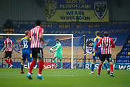 AFC Wimbledon goalkeeper Sam Walker (1) about to kick the ball up the field during the EFL Sky Bet League 1 match between AFC Wimbledon and Sunderland at Plough Lane, London, United Kingdom on 16 January 2021.