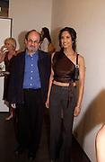 Salman Rushdie and Padma Lashki, Tom Wesselmann, Hamiltons. 24 June 2003. © Copyright Photograph by Dafydd Jones 66 Stockwell Park Rd. London SW9 0DA Tel 020 7733 0108 www.dafjones.com