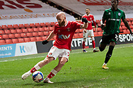 Charlton's Jonathan Williams crosses during the EFL Sky Bet League 1 match between Charlton Athletic and Rochdale at The Valley, London, England on 12 January 2021.