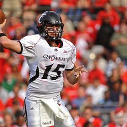 Sep 7, 2009; Piscataway, NJ, USA; Cincinnati quarterback Tony Pike (15) makes a pass during the first half of Rutgers' 47-15 loss to Cincinnati in NCAA college football at Rutgers Stadium.