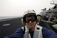 (ABOARD THE U.S.S ABRAHAM LINCOLN)  Jack Gruber on the U.S.S. Abraham Lincoln, the fifth ship of the United States Navy's largest class of aircraft carrier in the Persian Gulf on 2/14/03.  (Photo by Jack Gruber /USA Today)