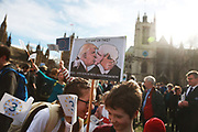 1 Day Without Us protest by EU citizens in Parliament Sqaure,February 20th 2017, London, United Kingdom. 1 Day without Us is a nationwide protest to highlight that EU citizens in the UK feel like bagaining chips in the Brexit negotiantions, used by the Uk government. Feb 2th saw hundreds of EU citizens gatherin Parliament square to go and lobby their respective MPs to safe guard their right to stay in Britain post Brexit.