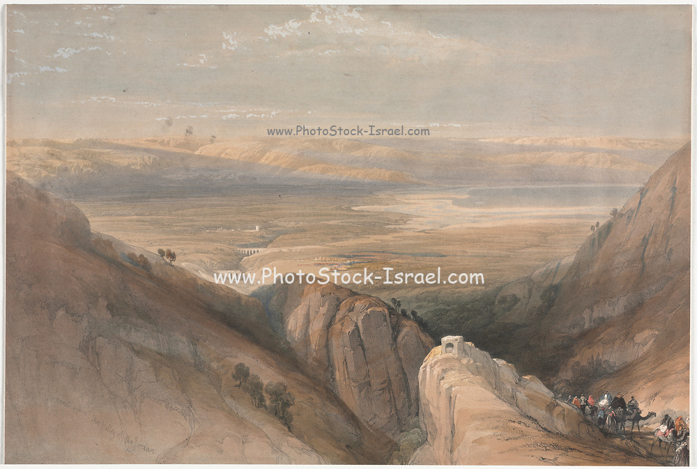 Descent from the Valley of the Jordan 1839 Color lithograph by David Roberts (1796-1864). An engraving reprint by Louis Haghe was published in a the book 'The Holy Land, Syria, Idumea, Arabia, Egypt and Nubia. in 1855 by D. Appleton & Co., 346 & 348 Broadway in New York.