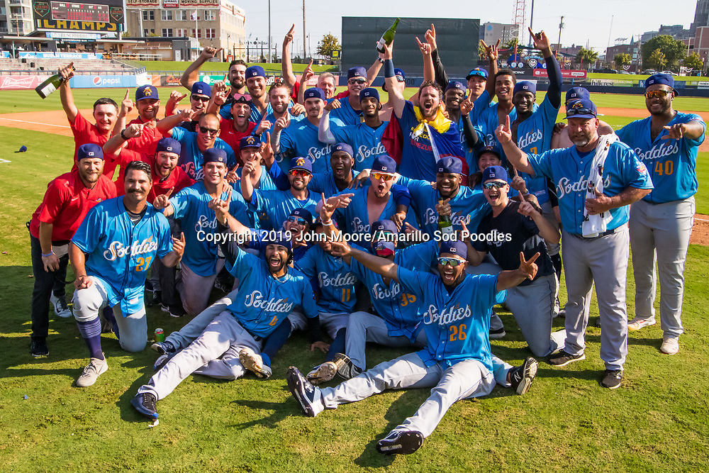 The Amarillo Sod Poodles celebrate after defeating the Tulsa Drillers during the Texas League Championship on Sunday, Sept. 15, 2019, at OneOK Field in Tulsa, Oklahoma. [Photo by John Moore/Amarillo Sod Poodles]