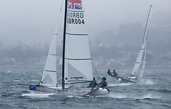 The annual RYA Youth National Championships is the UK's premier youth racing event. Day 3 with winds backing to the North the racing started on the Largs Channel.<br /> <br /> 004, Theo Williams, Jasmine Williams, Restronguet Sailing Club, Nacra 15 Open <br /> <br /> Images: Marc Turner / RYA<br /> <br /> For further information contact:<br /> <br /> Richard Aspland, <br /> RYA Racing Communications Officer (on site)<br /> E: richard.aspland@rya.org.uk<br /> m: 07469 854599