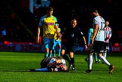 An injured Jack O'Connell of Sheffield United - Mandatory by-line: Ryan Crockett/JMP - 09/03/2019 - FOOTBALL - Bramall Lane - Sheffield, England - Sheffield United v Rotherham United - Sky Bet Championship