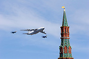 Moscow, Russia, 09/05/2008..A Russian IL-76 transport plane and two fighter jets fly over Red Square during the 63rd Victory Day celebrations, marking the end of the Second World War, referred to in Russia as the Great Patriotic War.
