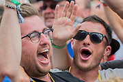 Enthusiastic fans watch as Barry Gibb of the Bee Gees plays the Pyramid Stage - The 2017 Glastonbury Festival, Worthy Farm. Glastonbury, 25 June 2017
