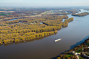 Aerial view of Dubuque, Iowa and a barge on the Mississippi River.