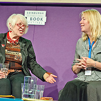 Liz Lochhead at the Edinburgh International Book Festival<br /> <br /> L to R: Liz Lochhead, writer, Makar, National Poet &  Catherine Lockerbie (former director of the EIBF, who was chairing the talk.)<br /> 15th August 2013<br /> <br /> Photograph by Pascal Saez/Writer Pictures<br /> <br /> WORLD RIGHTS