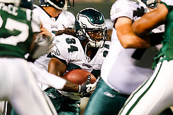 Philadelphia Eagles running back Eldra Buckley #34 runs the ball during the NFL game between the Philadelphia Eagles and the New York Jets on September 3rd 2009. At Giants Stadium in East Rutherford, NJ.  (Photo By Brian Garfinkel)