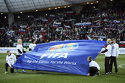 Flag of FIFA at the 8th day qualification game of 2010 FIFA WORLD CUP SOUTH AFRICA in Group 3 between Slovenia and Czech Republic at Stadion Ljudski vrt, on March 28, 2008, in Maribor, Slovenia. Slovenia vs Czech Republic 0 : 0. (Photo by Vid Ponikvar / Sportida)