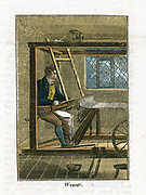 Weaver at his loom. This man would be a piece-worker with his loom in his house, and would produce lengths of cloth for a merchant who often supplied him with his yarn. From 'The Book of English Trades' London 1823. Hand-coloured woodcut.