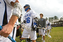 23 February 2008: Duke Blue Devils men's lacrosse attackman Zach Howell (26) in a 19-7 win over the Vermont Catamonts at Koskinen Stadium in Durham, NC