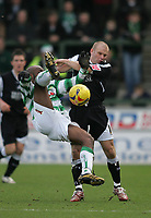 Photo: Lee Earle.<br /> Yeovil Town v Swansea City. Coca Cola League 1. 24/02/2007.Swansea's Andy Robinson (R) clashes with Yeovil's Terrell Forbes.
