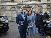 KEITH TYSON; ELIZABETH MURDOCH, guests leaving the wedding receptions for Jerry Hall to Rupert Murdoch, Spencer House, London. 5 March 2016