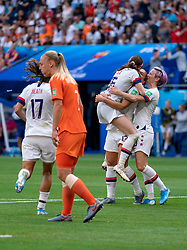 07-07-2019 FRA: Final USA - Netherlands, Lyon<br /> FIFA Women's World Cup France final match between United States of America and Netherlands at Parc Olympique Lyonnais. USA won 2-0 / Rose Lavelle #16 of the United States score 2-0, Stefanie van der Gragt #3 of the Netherlands, Megan Rapinoe #15 of the United States