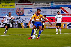 Lee Angol of Mansfield Town scores from the penalty spot- Mandatory by-line: Ryan Crockett/JMP - 18/07/2018 - FOOTBALL - One Call Stadium - Mansfield, England - Mansfield Town v Derby County - Pre-season friendly