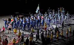 Seychelles' flag bearer Dylan Sicobo leads the team out followed by Sierra Leone during the Opening Ceremony for the 2018 Commonwealth Games at the Carrara Stadium in the Gold Coast, Australia.