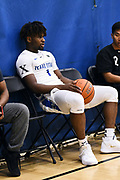 NORTH AUGUSTA, SC. July 10, 2019. Mike Miles 2020 #1 of Texas Titans 17u at Nike Peach Jam in North Augusta, SC. <br /> NOTE TO USER: Mandatory Copyright Notice: Photo by Alex Woodhouse / Jon Lopez Creative / Nike