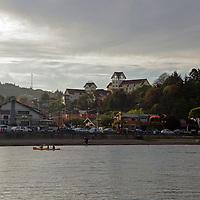 South America, Chile, Puerto Varas. Puerto Varas on Llanquihue Lake.